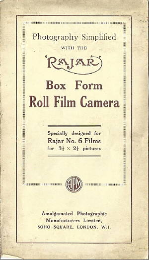 Image of Rajar No 6 Box Camera Instructions