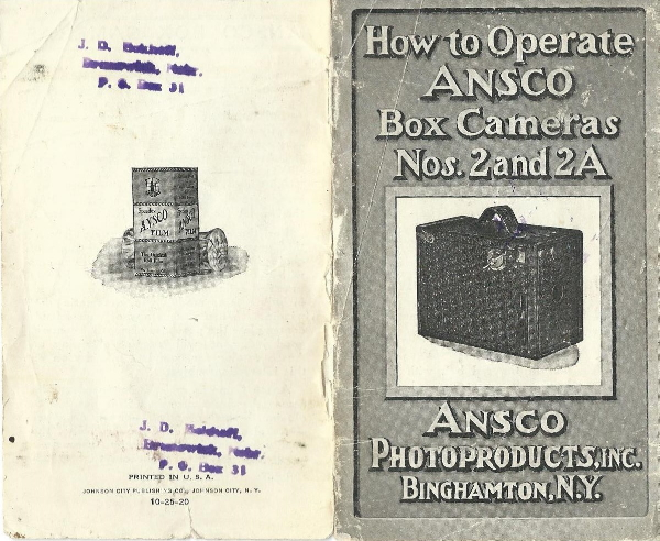 Image of instructions for Ansco No 2 and 2A box cameras