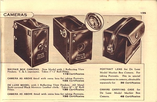 Image of Ardath Reminder Catalog 947 showing May Fair box cameras