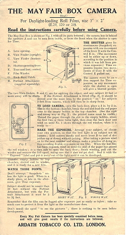 May Fair E29 box camera instruction sheet
