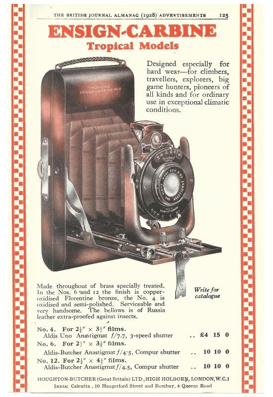 Image of Advert for No 4 Ensign Carbine Tropical Camera