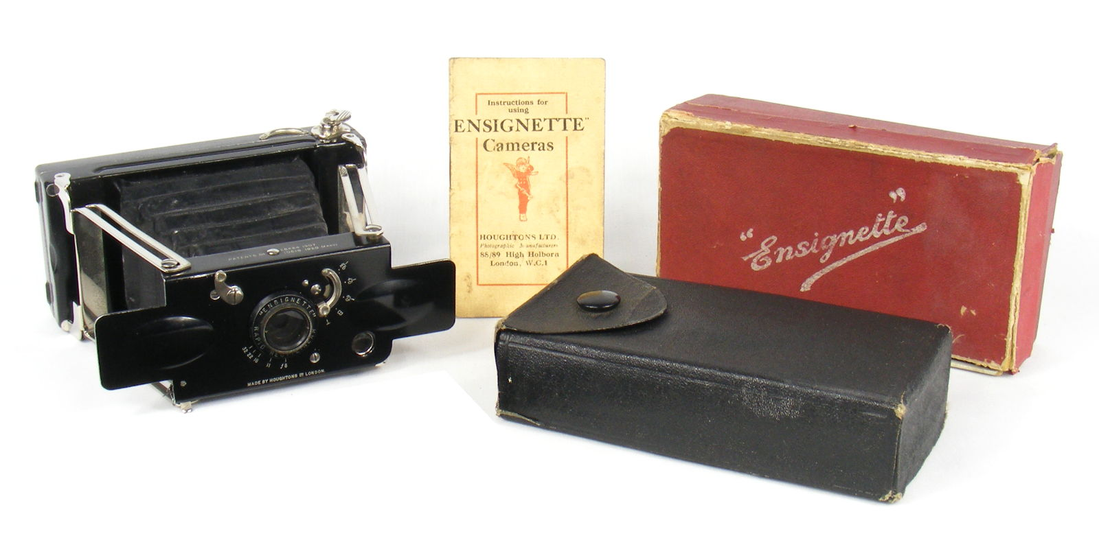 Image of Houghtons Ensignette No 2 RR Camera with box, case and instructions