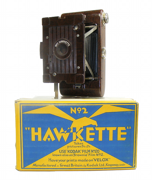 Image of No 2 Hawkette camera with packaging