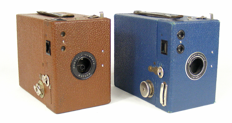 Image of Portrait Hawkeye Star (brown) and A-Star-A box (blue) cameras
